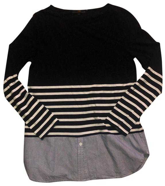 Item - Black Blue and White Exposed Zipper Tunic Size 6 (S)