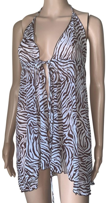Item - Ivory Brown Babydoll Lingerie Front Closure Mid-length Night Out Dress Size OS (one size)