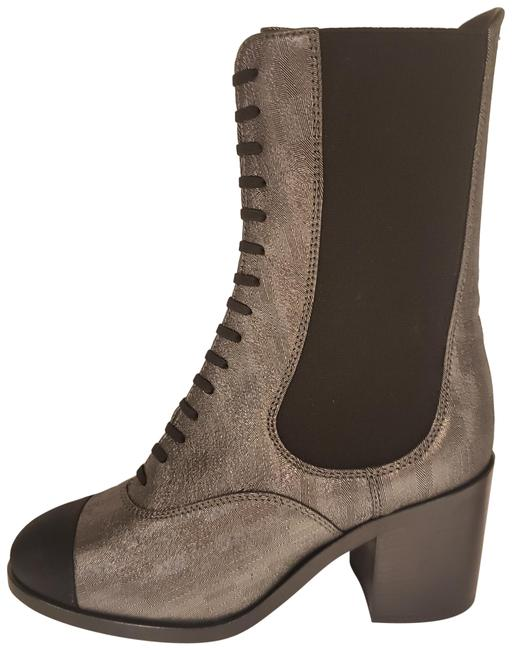 Item - Black/Multi 19c Stretch Laminated Lambskin Leather Gored Lace Up Boots/Booties Size EU 41 (Approx. US 11) Regular (M, B)