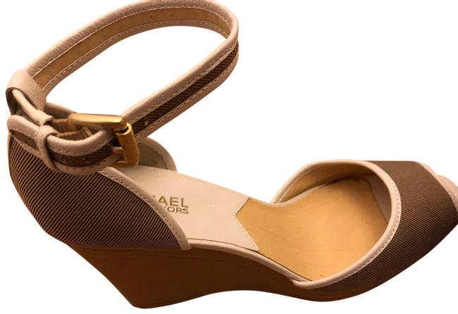 Item - Tan Canvas with White Leather Trim Wedge Sandals Size US 10 Regular (M, B)