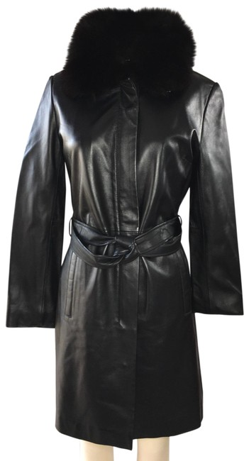 Item - Black Real Leather Real Fox Fur Coat Size 6 (S)