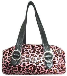 FARFALLINA Animal Print Calf Hair Satchel in PINK/BLACK