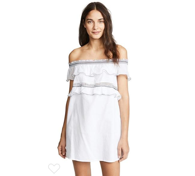 Item - White Noy Off The Shoulder Ruffle Short Casual Dress Size 0 (XS)