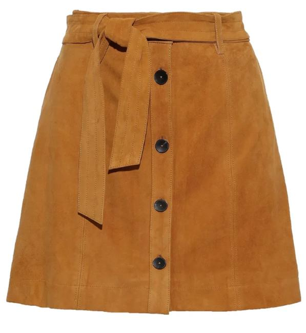 Item - Mustard Belted Lamb Leather Skirt Size 10 (M, 31)