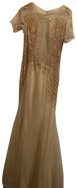 basix black label Gold Illusion Beaded Gown Long Formal Dress Size 0 (XS) basix black label Gold Illusion Beaded Gown Long Formal Dress Size 0 (XS) Image 1