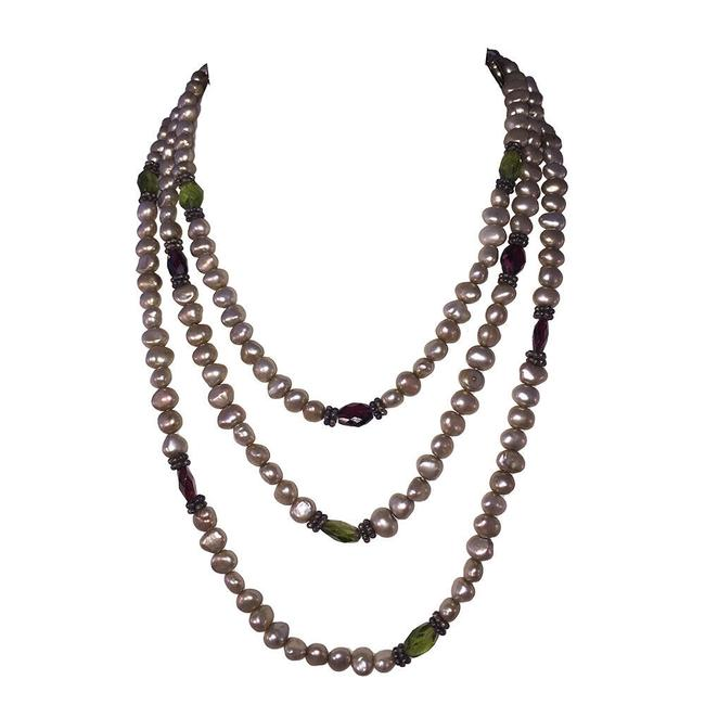 Item - Gray Pearl and Faceted Abalone Shell Sterling Bead Necklace