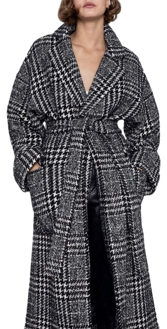 Item - Black White Belted Plaid Houndstooth Wool Coat Size 2 (XS)
