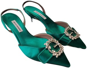 Tabitha Simmons Satin Emerald Pumps