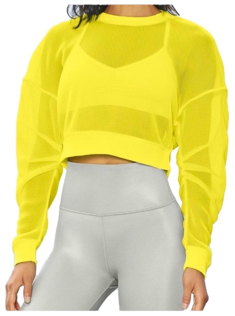 Item - Yellow Yoga Row Long Sleeve Crop Out Sheer Mesh Fabric Highlighter Activewear Top Size 2 (XS)