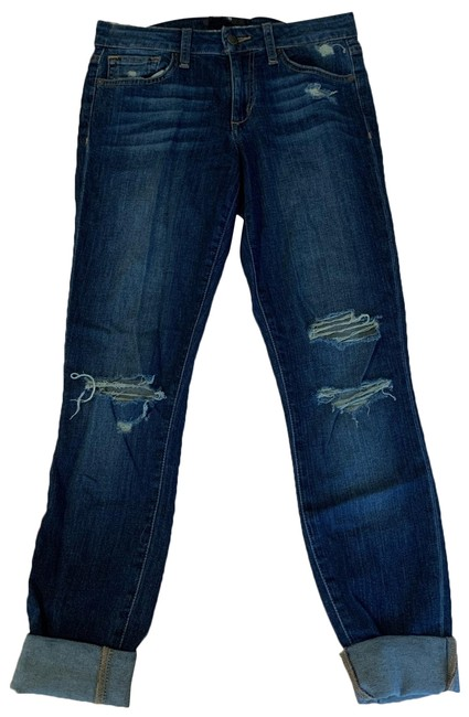 Item - Blue Distressed The Skinny Straight Leg Jeans Size 2 (XS, 26)