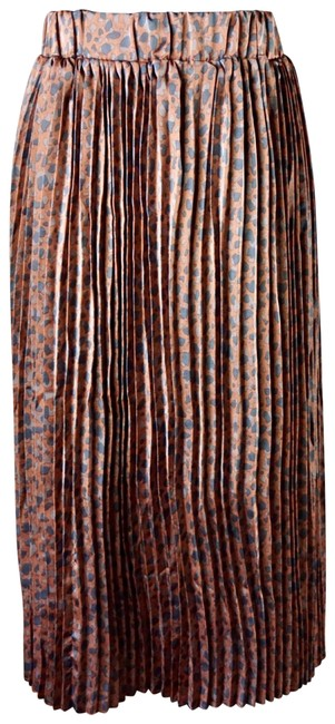 Item - Brown Pleated Leopard New M Skirt Size 10 (M, 31)