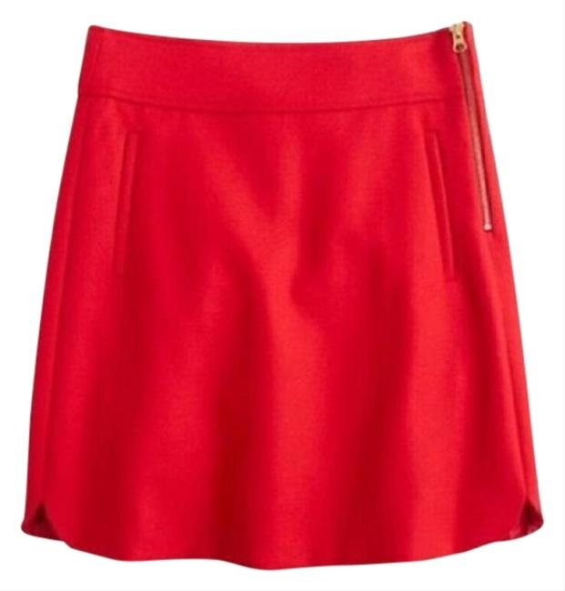 Item - Red A-line In Double Serge Wool Skirt Size 0 (XS, 25)
