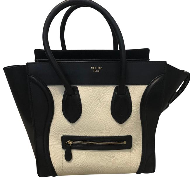 Item - Luggage Mini Black and White Calfskin Leather Tote