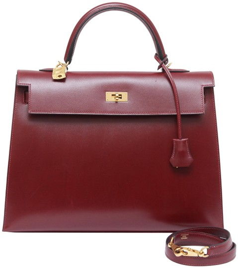 Hermès Kelly Box 35 Cm Sellier Rouge H Leather Tote