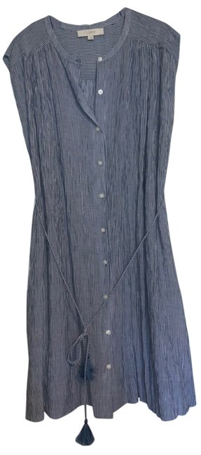 Item - Blue and White Strip Gingham Denim Style Long Casual Maxi Dress Size 14 (L)