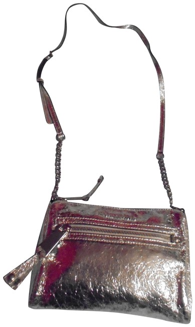 Item - Crackled Metallic Silver Leather Cross Body Bag
