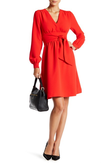 Kate Spade Red New York Long-sleeve Tie-waist Mid-length Cocktail Dress Size 4 (S) Kate Spade Red New York Long-sleeve Tie-waist Mid-length Cocktail Dress Size 4 (S) Image 1