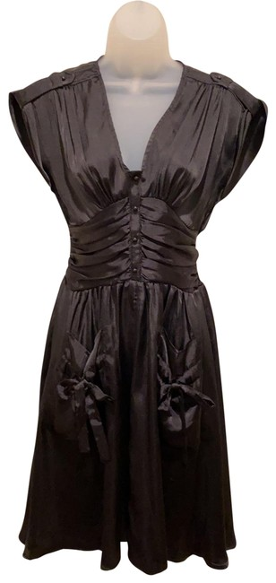 Item - Black 40's Inspired Mid-length Cocktail Dress Size 4 (S)