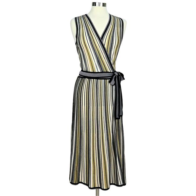 Item - Gold and Silver Cadenza Metallic Striped Knit Wrap Mid-length Cocktail Dress Size 8 (M)