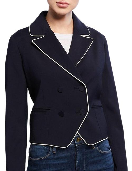 FRAME Navy Piped Double Breasted Jacket Blazer Size 12 (L) FRAME Navy Piped Double Breasted Jacket Blazer Size 12 (L) Image 1