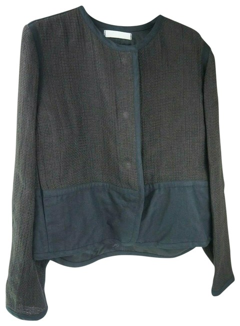 Item - Brown Linen Black Womens Basic Jacket Size 8 (M)