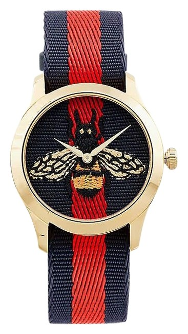 Item - Multi Color G-timeless Yellow Gold-plated Stainless Steel and Canvas Watch