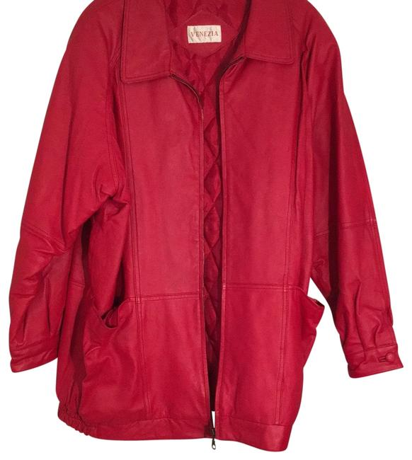 Venezia Red Leather Coat Size 22 (Plus 2x) Venezia Red Leather Coat Size 22 (Plus 2x) Image 1