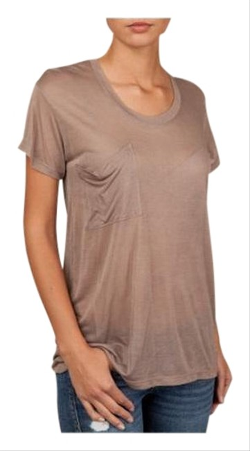 Item - Taupe Skull Modal and Silk-blend Pocket T-shirt Tee Shirt Size 6 (S)