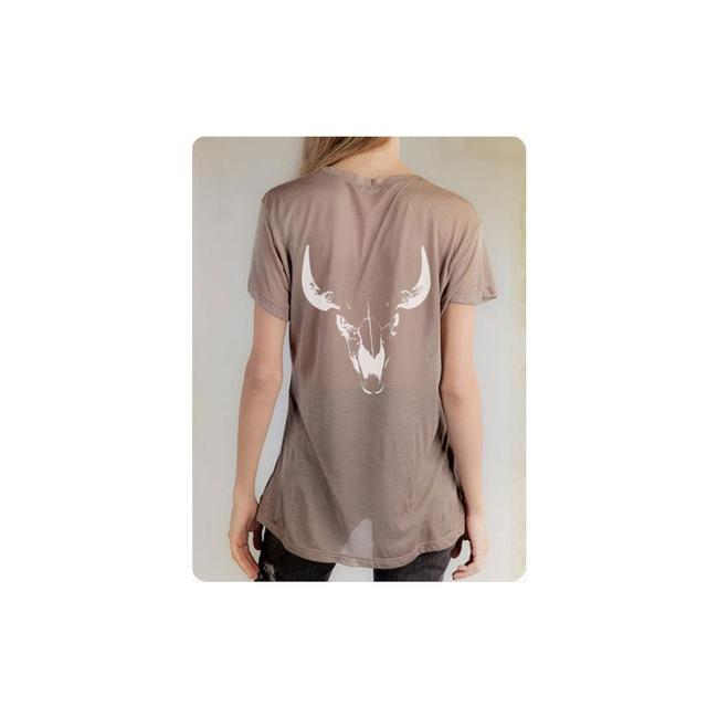 Condemned to Be Free Taupe Skull Modal and Silk-blend Pocket T-shirt Tee Shirt Size 8 (M) Condemned to Be Free Taupe Skull Modal and Silk-blend Pocket T-shirt Tee Shirt Size 8 (M) Image 1