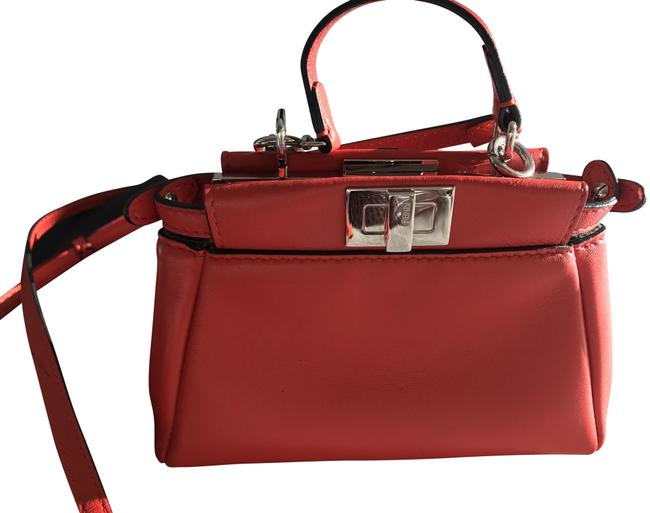 Item - Micro Peekaboo Orange Red Lambskin Leather Cross Body Bag