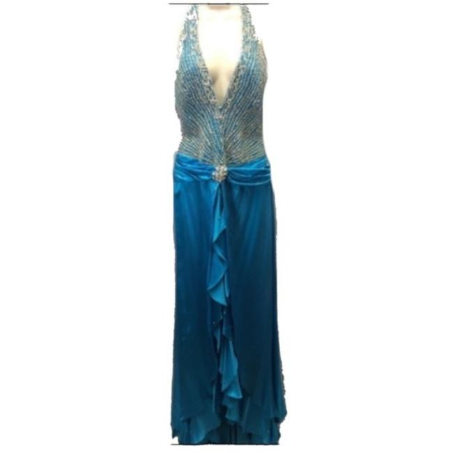 Item - Blue Silver Long Formal Dress Size 6 (S)