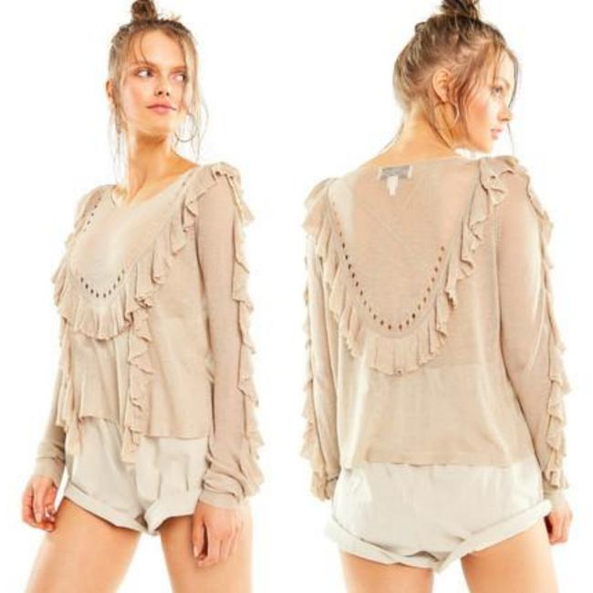 Item - Camilla Frilly Maderas Tan Sheer Beige Sweater