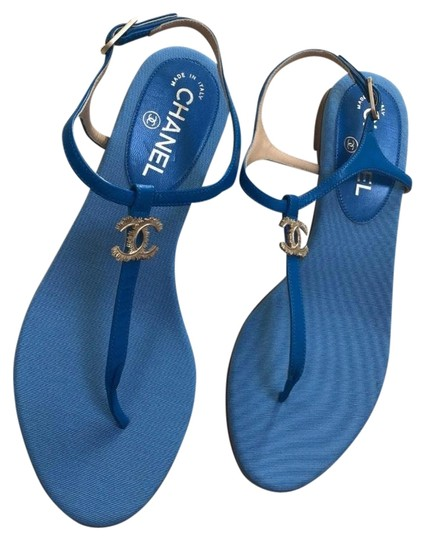 Chanel Royal Blue Thong Sandals Size US