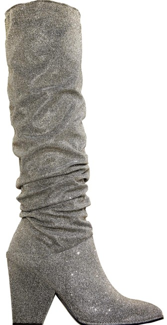 Item - Silver Smashing Scrunched Metallic Tall Boots/Booties Size US 7 Regular (M, B)