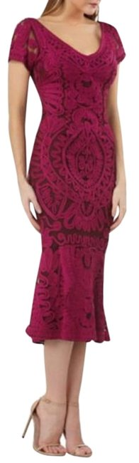 Item - Purple Ribbon Embroidery Embellished In Magenta Soutache Trumpet Tea Mid-length Formal Dress Size 2 (XS)