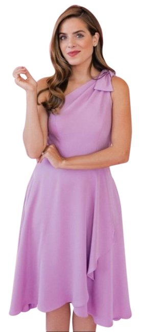Item - Purple Gal Meets Glam Octavia One Shoulder with Pockets In Wisteria Mid-length Cocktail Dress Size 4 (S)