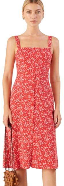 Item - Red Persimmon Floral Front Button Back Zip Mid-length Night Out Dress Size 4 (S)