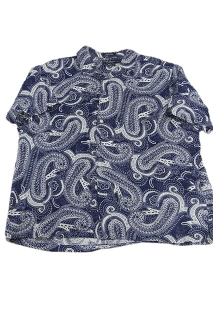 Item - Blue and White Collection Sleeve Paisley Print Xxl ( Tee Shirt Size 18 (XL, Plus 0x)