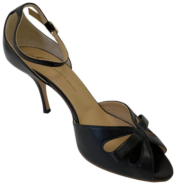 Item - Black W Leather Open Toe Heels W/ Bow and Ankle Straps 38.5 Pumps Size US 8.5 Regular (M, B)