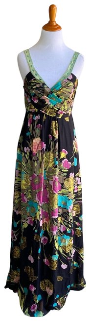 Item - Black Metallic Chiffon Floral Maxi Gown Long Night Out Dress Size 4 (S)