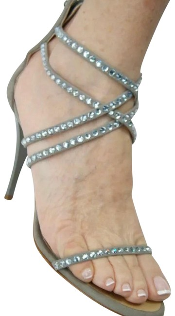 Item - Grey Suede with Crystals Sandals Size US 6 Regular (M, B)