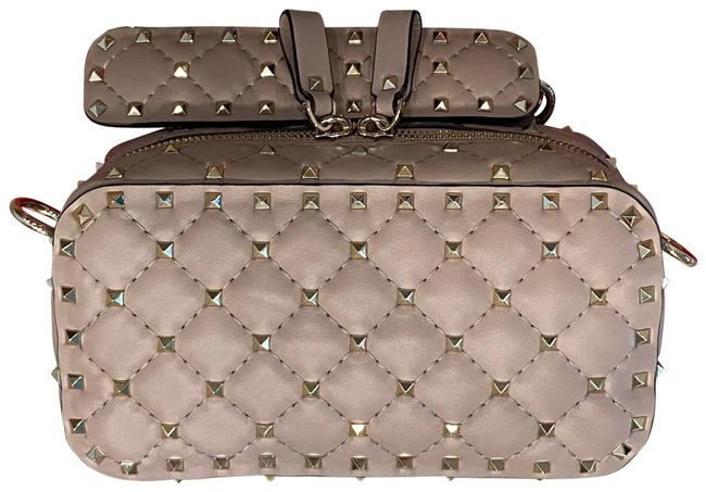 Item - Camera Beige Leather with Silver Metal Studs Cross Body Bag