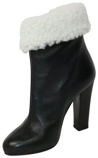 Item - Black Leather with Wool Fur Boots/Booties Size US 6.5 Regular (M, B)