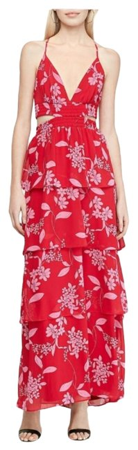 Item - Red / Pink Twist Floral Tiered Back Long Casual Maxi Dress Size 12 (L)