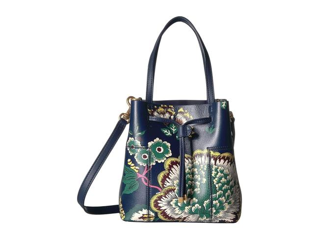 Item - Block-T Bucket T Happy Times Block Printed Small Navy Multicolor Leather Cross Body Bag