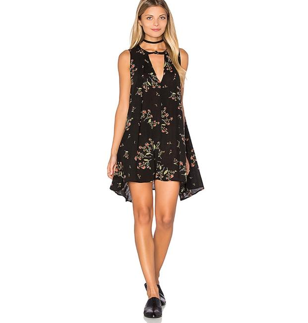 Item - Black/Brown Floral Snap Out Of It Swing Short Casual Dress Size 8 (M)