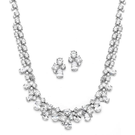 Silver/Rhodium Art Deco Crystal Necklace Earrings Set Jewelry Sets