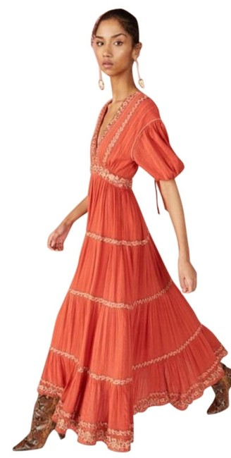 Item - Orange Red Alma Sequined Embroidered In Clay Long Casual Maxi Dress Size 8 (M)