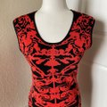Orange Red Black Body Con Pencil Short Night Out Dress Size 8 (M) Orange Red Black Body Con Pencil Short Night Out Dress Size 8 (M) Image 3