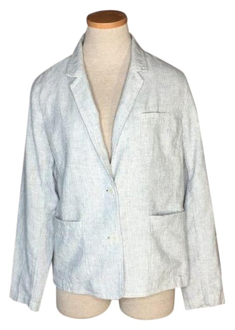 Item - Gray White Jacket Hemp Cotton Stripe Blazer Size 8 (M)